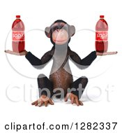 Clipart Of A 3d Chimpanzee Sitting And Holding Two Soda Bottles Royalty Free Illustration