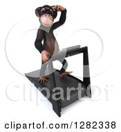 Clipart Of A 3d Thinking Bespectacled Chimpanzee Facing Slightly Right And Running On A Treadmill Royalty Free Illustration