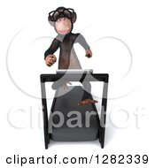 Clipart Of A 3d Bespectacled Chimpanzee Running On A Treadmill Royalty Free Illustration