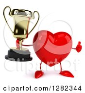Clipart Of A 3d Heart Character Holding A Thumb Up And A Trophy Royalty Free Vector Illustration