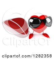Clipart Of A 3d Heart Character Wearing Sunglasses And Holding Up A Beef Steak Royalty Free Vector Illustration