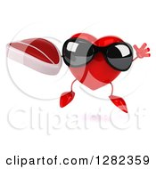 Clipart Of A 3d Heart Character Wearing Sunglasses Jumping And Holding A Beef Steak Royalty Free Vector Illustration
