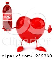 Clipart Of A 3d Heart Character Holding A Thumb Up And A Soda Bottle Royalty Free Vector Illustration
