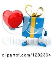 Clipart Of A 3d Blue Gift Character Holding A Heart Royalty Free Illustration