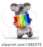 Clipart Of A 3d Koala Walking And Carrying Books Royalty Free Illustration
