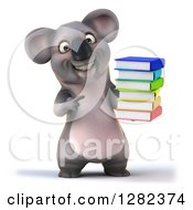 Clipart Of A 3d Koala Holding And Pointing To A Stack Of Books Royalty Free Illustration