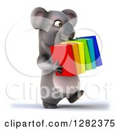 Clipart Of A 3d Koala Walking To The Right And Carrying Books Royalty Free Illustration