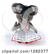 Clipart Of A 3d Koala Wearing Sunglasses Looking Upwards Holding Up A Thumb And A Book Royalty Free Illustration