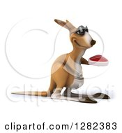 Clipart Of A 3d Kangaroo Wearing Sunglasses Facing Right And Holding A Beef Steak Royalty Free Illustration