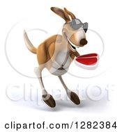 Clipart Of A 3d Kangaroo Wearing Sunglasses Hopping And Holding A Beef Steak Royalty Free Illustration