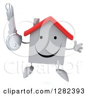 Clipart Of A 3d Happy White House Character Jumping And Holding A Key Royalty Free Illustration