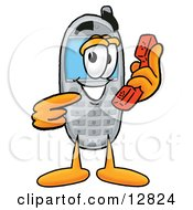 Wireless Cellular Telephone Mascot Cartoon Character Holding A Telephone