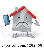 Clipart Of A 3d Unhappy White House Character Gesturing Call Me And Holding A Smartphone Royalty Free Illustration