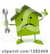 Clipart Of A 3d Unhappy Green House Character Holding Up A Finger And A Wrench Royalty Free Illustration