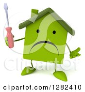 Clipart Of A 3d Unhappy Green House Character Shrugging And Holding A Screwdriver Royalty Free Illustration by Julos
