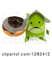 Clipart Of A 3d Unhappy Green House Character Holding Up A Chocolate Frosted Donut Royalty Free Illustration by Julos