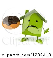 Clipart Of A 3d Unhappy Green House Character Shrugging And Holding A Chocolate Frosted Donut Royalty Free Illustration by Julos