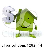 Clipart Of A 3d Happy Green House Character Holding A Dollar Currency Symbol Royalty Free Illustration by Julos