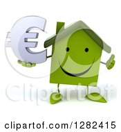 Clipart Of A 3d Happy Green House Character Holding A Thumb Up And A Euro Currency Symbol Royalty Free Illustration by Julos