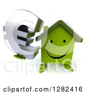 Clipart Of A 3d Happy Green House Character Holding Up A Euro Currency Symbol Royalty Free Illustration by Julos