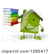 Clipart Of A 3d Happy Green House Character Holding A Stack Of Books Royalty Free Illustration by Julos