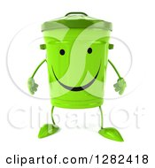 Clipart Of A 3d Happy Recycle Bin Character Royalty Free Illustration by Julos