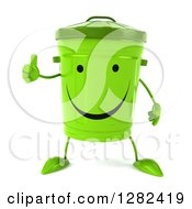 Clipart Of A 3d Happy Recycle Bin Character Holding A Thumb Up Royalty Free Illustration