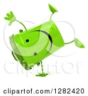 Clipart Of A 3d Happy Recycle Bin Character Cartwheeling Royalty Free Illustration