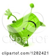 Clipart Of A 3d Happy Recycle Bin Character Cartwheeling 2 Royalty Free Illustration