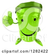 Clipart Of A 3d Happy Recycle Bin Character Holding Up A Thumb Royalty Free Illustration