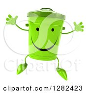 Clipart Of A 3d Happy Recycle Bin Character Jumping Royalty Free Illustration