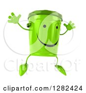 Clipart Of A 3d Happy Recycle Bin Character Facing Slightly Right And Jumping Royalty Free Illustration