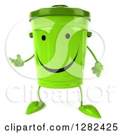 Clipart Of A 3d Happy Recycle Bin Character Presenting Royalty Free Illustration