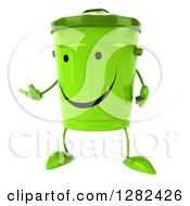Clipart Of A 3d Happy Recycle Bin Character Facing Slightly Left And Presenting Royalty Free Illustration