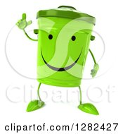Clipart Of A 3d Happy Recycle Bin Character Holding Up A Finger Royalty Free Illustration