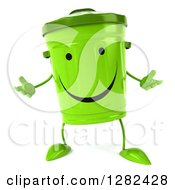 Clipart Of A 3d Happy Recycle Bin Character Shrugging Royalty Free Illustration