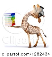Clipart Of A 3d Giraffe Wearing Sunglasses Facing Left Laughing And Holding A Stack Of Books Royalty Free Vector Illustration