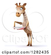 Clipart Of A 3d Giraffe Standing On His Hind Legs Facing Slightly Left And Reading A Book Royalty Free Vector Illustration