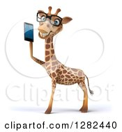 3d Bespectacled Giraffe Facing Left And Talking On A Smart Cell Phone
