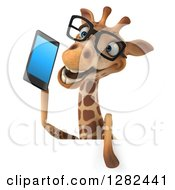 3d Bespectacled Giraffe Talking On A Smart Cell Phone Over A Sign