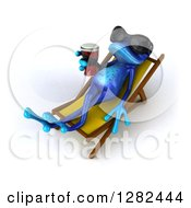 Clipart Of A 3d Blue Frog Wearing Sunglasses And Sun Bathing With A Beer In A Chaise Lounge Royalty Free Illustration by Julos