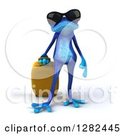 Clipart Of A 3d Blue Frog Wearing Sunglasses And Standing With A Rolling Suitcase Royalty Free Illustration
