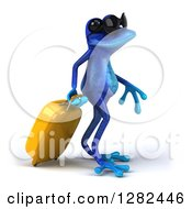 Clipart Of A 3d Blue Frog Wearing Sunglasses And Walking To The Right With A Rolling Suitcase Royalty Free Illustration by Julos