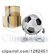 Clipart Of A 3d Soccer Ball Character Holding Boxes Royalty Free Illustration