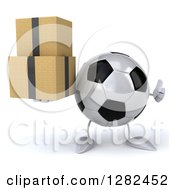 Clipart Of A 3d Soccer Ball Character Holding A Thumb Up And Boxes Royalty Free Illustration