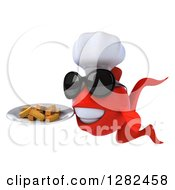 Clipart Of A 3d Red Chef Fish Wearing Sunglasses And Holding A Plate Of French Fries Royalty Free Illustration