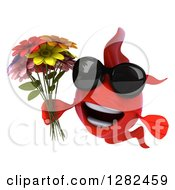 Clipart Of A 3d Red Fish Wearing Sunglasses And Holding A Bouquet Of Colorful Flowers Royalty Free Illustration
