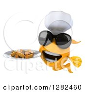 3d Yellow Chef Fish Wearing Sunglasses And Holding A Plate Of French Fries