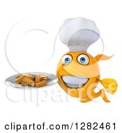 3d Yellow Chef Fish Holding A Plate Of French Fries