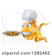 3d Yellow Chef Fish Facing Left And Holding A Plate Of French Fries